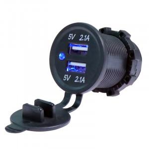 USB Charger for transport 2USB 4.2A blue light TUC-CA24-BLK-BLU
