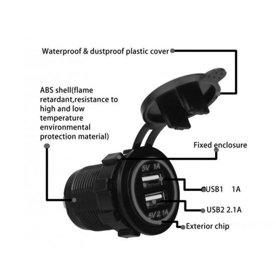 USB Charger socket for transport 2USB 3.1A green backlight TUC-CB23-BLK-GRN