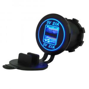 USB Charger for transport 2USB 4.2A blue backlight TUC-CB24-BLK-BLU