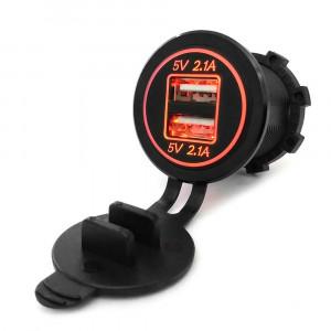 USB Charger for transport 2USB 4.2A orange backlight TUC-CB24-BLK-ORG
