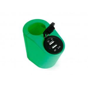 Green USB charger holder for handrail in transport green TUC-HLD-HR01-GRN
