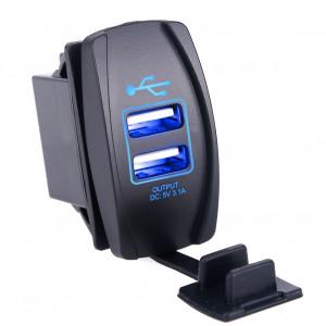 Dual USB Socket Charger 2 USB 3.1A blue lighting TUC-RA23-BLK-BLU
