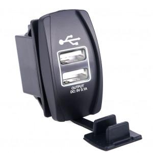 Dual USB Socket Charger 2 USB 3.1A white backlight TUC-RA23-BLK-WHT